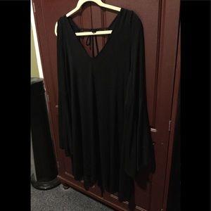 Black Bell Sleeve Boho Mini Dress